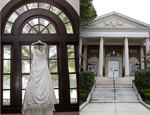 wedding dress hanging by window and the Olmsted in Louisville KY