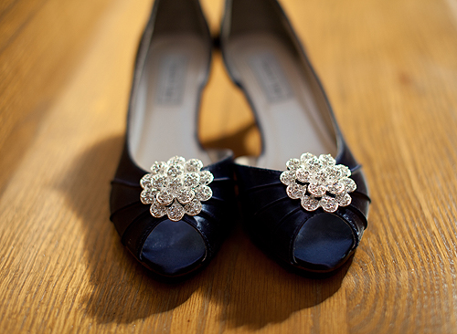 blue wedding shoes with diamond flowers